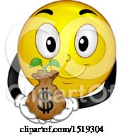 Clipart Of A Yellow Smiley Emoji Holding A Plant In A Money Bag Royalty Free Vector Illustration by BNP Design Studio