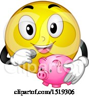 Clipart Of A Yellow Smiley Emoji Depositing A Coin In A Piggy Bank Royalty Free Vector Illustration
