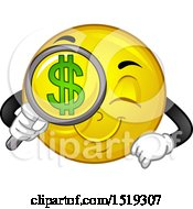 Clipart Of A Yellow Smiley Emoji Searching For Money Royalty Free Vector Illustration