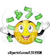 Clipart Of A Yellow Smiley Emoji Making It Rain Money Royalty Free Vector Illustration