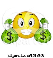 Clipart Of A Yellow Smiley Emoji Holding Money Bags Royalty Free Vector Illustration