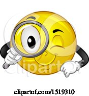 Clipart Of A Yellow Smiley Emoji Using A Magnifying Glass Royalty Free Vector Illustration