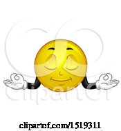 Clipart Of A Yellow Smiley Emoji Meditating Royalty Free Vector Illustration