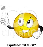Clipart Of A Yellow Smiley Emoji Flipping A Coin Royalty Free Vector Illustration by BNP Design Studio