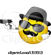 Clipart Of A Yellow Smiley Emoji Moster Pointing A Gun Royalty Free Vector Illustration by BNP Design Studio