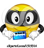 Clipart Of A Yellow Smiley Emoji Thief Holding A Credit Card Royalty Free Vector Illustration by BNP Design Studio