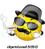 Clipart Of A Yellow Smiley Emoji Magifa Gangster Smoking A Cigar Royalty Free Vector Illustration