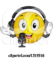 Clipart Of A Yellow Smiley Emoji Wearing Headphones And Talking Into A Microphone Royalty Free Vector Illustration