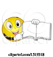 Clipart Of A Yellow Smiley Emoji Pointing To An Open Book Royalty Free Vector Illustration