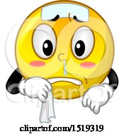 Clipart Of A Yellow Smiley Emoji Sick With A Runny Nose Royalty Free Vector Illustration