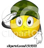 Poster, Art Print Of Yellow Smiley Emoji Soldier Saluting