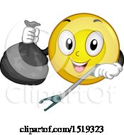 Clipart Of A Yellow Smiley Emoji Using A Garbage Picker Royalty Free Vector Illustration