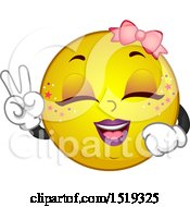 Clipart Of A Yellow Smiley Emoji Kpop Girl Gesturing Peace Royalty Free Vector Illustration