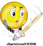 Clipart Of A Yellow Smiley Emoji Striking A Krendo Bamboo Sword Royalty Free Vector Illustration by BNP Design Studio