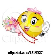 Clipart Of A Yellow Smiley Emoji Beauty Queen Royalty Free Vector Illustration