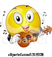 Clipart Of A Yellow Smiley Emoji Playing A Ukulele Royalty Free Vector Illustration by BNP Design Studio