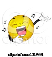 Clipart Of A Yellow Smiley Emoji Singing And Presenting Royalty Free Vector Illustration by BNP Design Studio