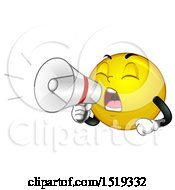 Clipart Of A Yellow Smiley Emoji Using A Bullhorn Royalty Free Vector Illustration