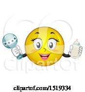 Clipart Of A Yellow Smiley Emoji Mom Holding A Baby Bottle And Rattle Royalty Free Vector Illustration by BNP Design Studio
