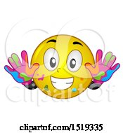 Clipart Of A Yellow Smiley Emoji With Colorful Hand Paint Royalty Free Vector Illustration by BNP Design Studio