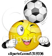 Yellow Smiley Emoji Bouncing A Soccer Ball On His Head