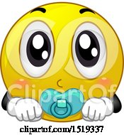 Clipart Of A Yellow Smiley Baby Emoji Royalty Free Vector Illustration by BNP Design Studio