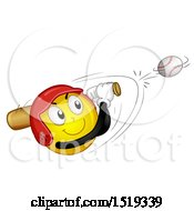 Poster, Art Print Of Yellow Smiley Emoji Hitting A Baseball