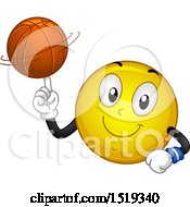 Clipart Of A Yellow Smiley Emoji Spinning A Basketball On His Finger Royalty Free Vector Illustration