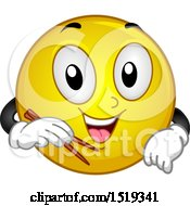 Poster, Art Print Of Yellow Smiley Emoji Holding Chopsticks