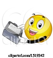 Clipart Of A Yellow Smiley Emoji Reading An Ebook Royalty Free Vector Illustration
