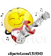 Clipart Of A Yellow Smiley Emoji Playing An Electric Guitar Royalty Free Vector Illustration