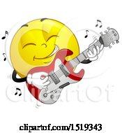 Poster, Art Print Of Yellow Smiley Emoji Playing An Electric Guitar
