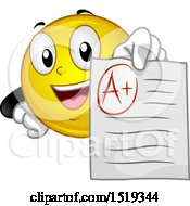 Clipart Of A Yellow Smiley Emoji Student Holding Out An A Graded Paper Royalty Free Vector Illustration by BNP Design Studio