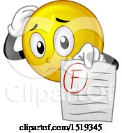 Clipart Of A Yellow Smiley Emoji Student Holding Out A F Graded Paper Royalty Free Vector Illustration