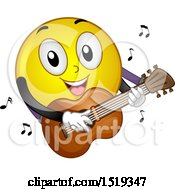 Clipart Of A Yellow Smiley Emoji Playing A Guitar Royalty Free Vector Illustration