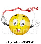 Yellow Smiley Emoji Gymnast Dancing With A Ribbon