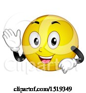 Clipart Of A Yellow Smiley Emoji Waving Royalty Free Vector Illustration by BNP Design Studio