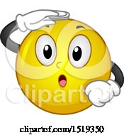 Clipart Of A Yellow Smiley Emoji Shielding His Eyes And Looking Royalty Free Vector Illustration by BNP Design Studio