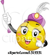 Clipart Of A Yellow Smiley Emoji Majorette Holding A Baton Royalty Free Vector Illustration by BNP Design Studio