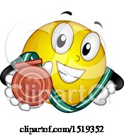 Poster, Art Print Of Yellow Smiley Emoji Showing A Bronze Medal