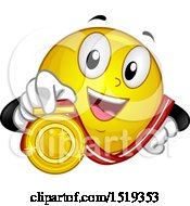 Clipart Of A Yellow Smiley Emoji Showing A Gold Medal Royalty Free Vector Illustration
