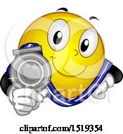 Poster, Art Print Of Yellow Smiley Emoji Showing A Silver Medal