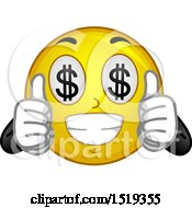 Clipart Of A Yellow Smiley Emoji With Dollar Sign Eyes Royalty Free Vector Illustration by BNP Design Studio