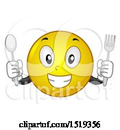Clipart Of A Yellow Smiley Emoji Holding A Fork And Spoon Royalty Free Vector Illustration