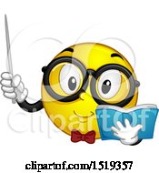 Poster, Art Print Of Yellow Smiley Emoji Teacher Holding A Pointer Stick And Book