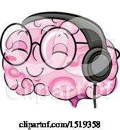 Clipart Of A Brain Character Wearing Heapphones Royalty Free Vector Illustration by BNP Design Studio