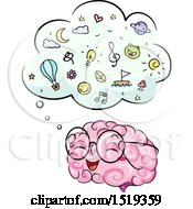 Clipart Of A Brain Character With A Full Thought Cloud Royalty Free Vector Illustration