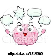 Clipart Of A Brain Character With Speech And Thought Bubbles Royalty Free Vector Illustration by BNP Design Studio