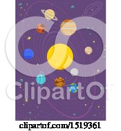 Poster, Art Print Of Starry Sky With The Solar System With The Sun Mercury Venus Earth Mars Jupiter Saturn Uranus And Ninth Planet Pluto
