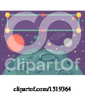 Clipart Of A Banner Over An Asteroid Royalty Free Vector Illustration